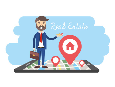 businessman with smartphone and property sale map vector illustration