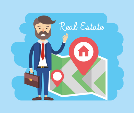 businessman with property map location to sale vector illustration