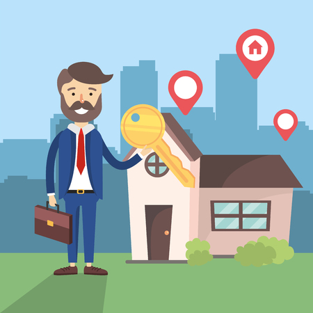 businessman with key and house sale location vector illustration