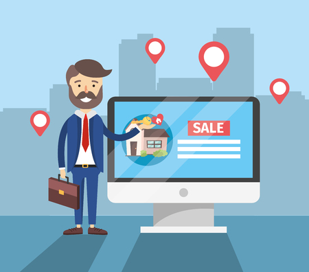 businessman with computer to house sale location vector illustration Illusztráció