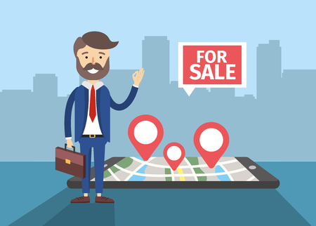 businessman with smartphone to map house sale location vector illustration