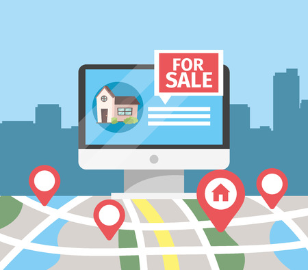 computer with house sale and map location vector illustration Illustration