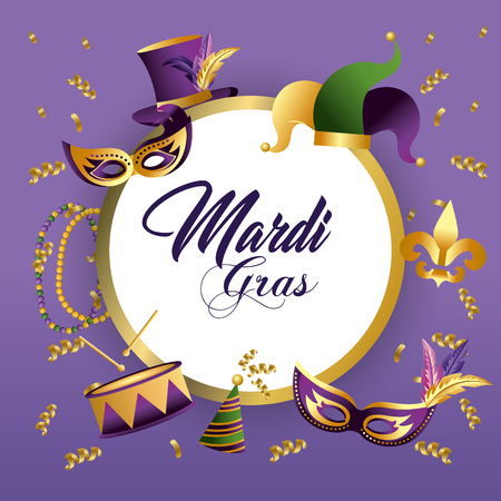 circle mardi grass emblem decoration