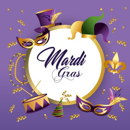 circle mardi grass emblem decoration