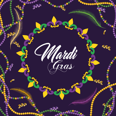 mardi gras celebration with necklace and feathers