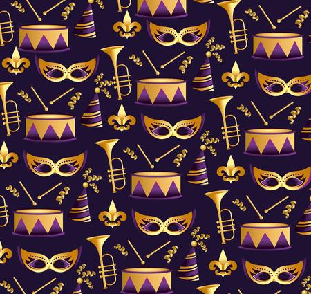 merdi grass masks with trompet and drum background vector illustration