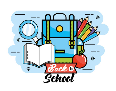 backpack with pencils colors and book to back school vector illustration Illustration