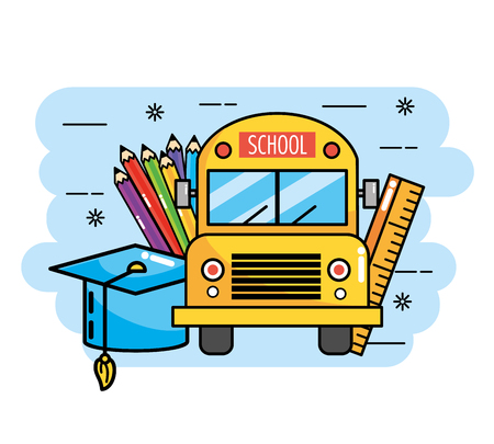 school bus with ruler and pencils colors vector illustration