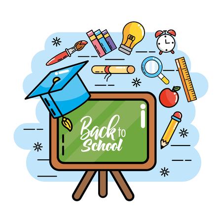 blackboard with graduation cap and pencils colors vector illustration