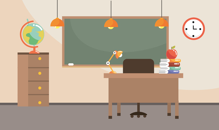 classroom with blackboard and global map supplies vector illustration