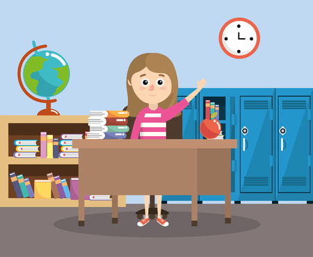 girl in the classroom with desk and apple fruit vector illustration