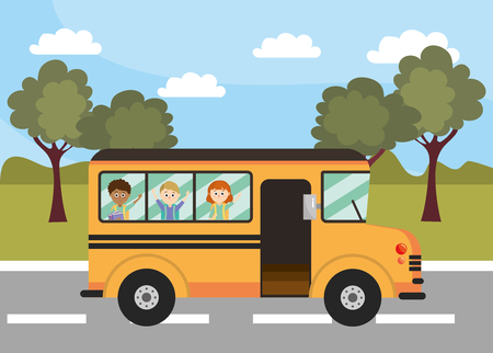 school bus education vehicle with students vector illustration Illustration