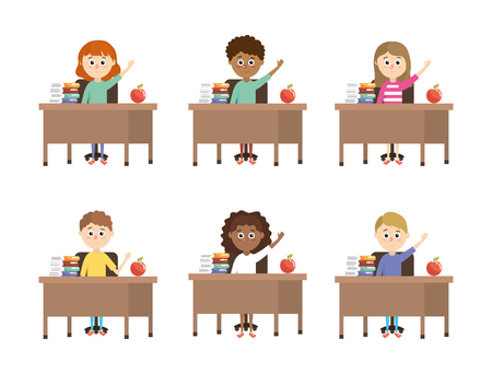 set boys and girls students in the desk with books vector illustration