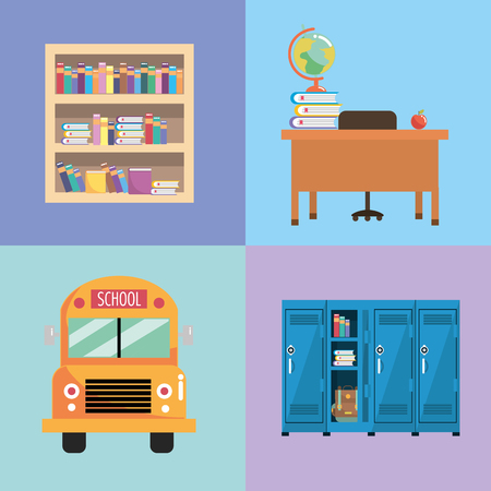 set school utensils to education and study vector illustration Illustration