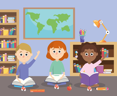students with education books and bookcase in the classroom vector illustration