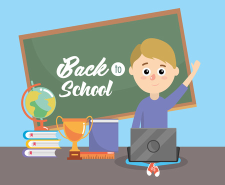 boy with blackboard and education book with laptop vector illustration Illustration