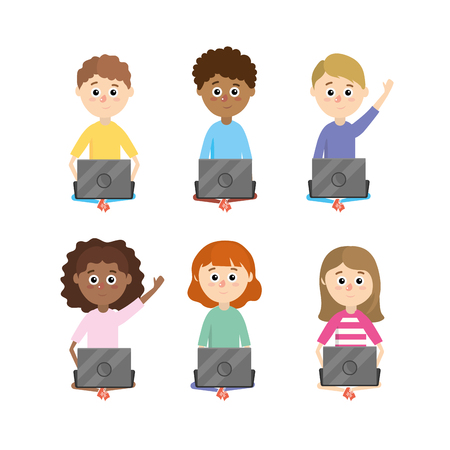 set boys and girls students with laptop supplies vector illustration