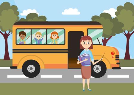 véhicule d'autobus scolaire avec l'enseignant et les étudiants vector illustration Vecteurs