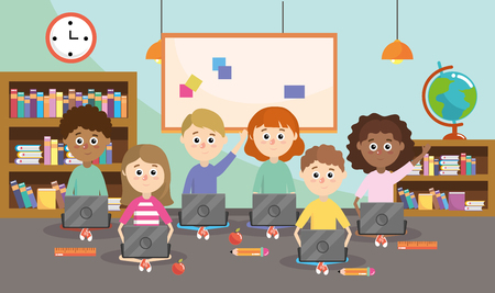 teacher with students and education laptop supplies vector illustration Vetores
