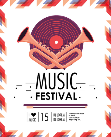 disco and cornets to music festival celebration vector illustration Illustration