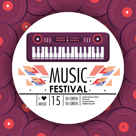 piano instrument to music festival celebration vector illustration