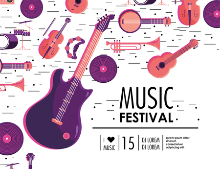 electric guitar and instruments to music festival event vector illustration