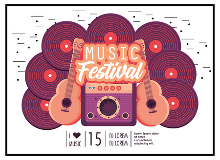 radio with acoustic guitars to music festival celebration vector illustration