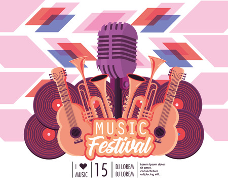 acoustic guitars with trumpets and microphone to music festival vector illustration