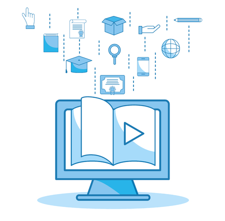 computer website book video education vector illustration 矢量图像