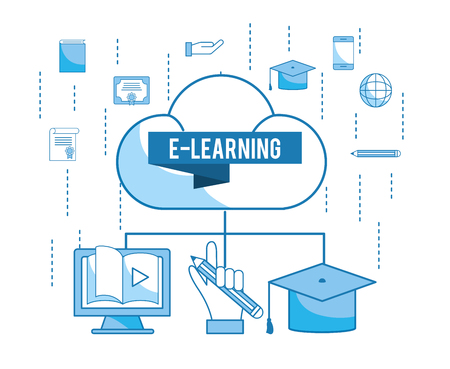 load cloud with elearning education technology vector illustration