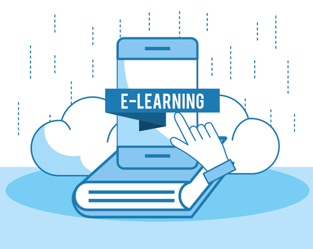 smartphone technology education with book knowledge vector illustration