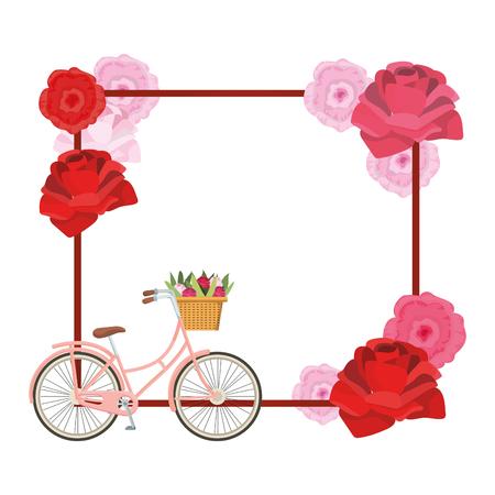 cute roses square cartoon vector illustration graphic design