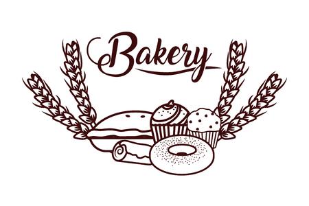 Délicieuse boulangerie cartoon vector illustration graphic design
