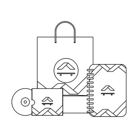 corporate merchandise elements cartoon vector illustration graphic design