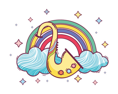 cute music instrument over clouds cartoon vector illustration graphic design