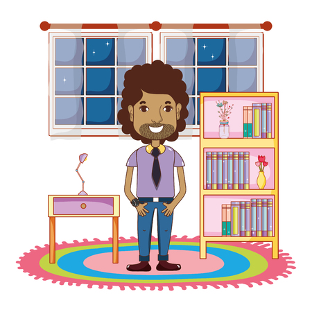 young man body inside home at night cartoon vector illustration graphic design