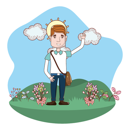 young man body over nature field cartoon vector illustration graphic design