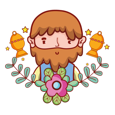 cute man body with stars cartoon vector illustration graphic design