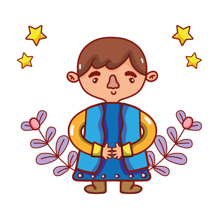 cute man body with stars cartoon vector illustration graphic design