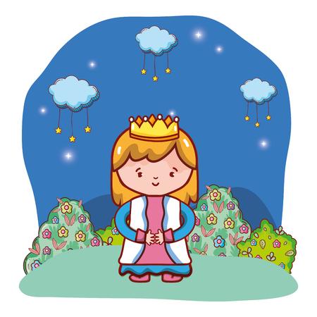 cute girl queen cartoon vector illustration graphic design Ilustração