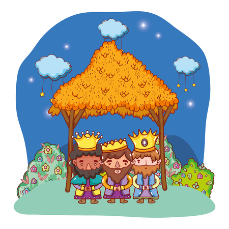 christmas nativity scene wise men cartoon vector illustration graphic design Stock Illustratie