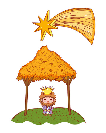 christmas nativity scene wise man cartoon vector illustration graphic design