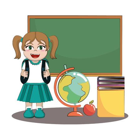 Diseño gráfico del ejemplo del vector de la historieta del cuerpo de la niña de la escuela primaria Ilustración de vector