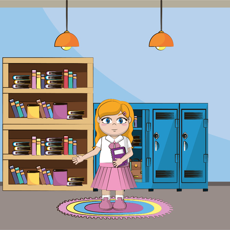 elementary school girl body cartoon vector illustration graphic design Illusztráció