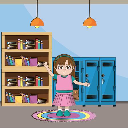 elementary school girl body cartoon vector illustration graphic design 矢量图像