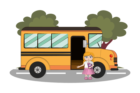 elementary school girl body cartoon vector illustration graphic design