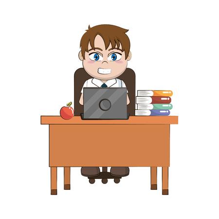 elementary school student boy body cartoon vector illustration graphic design