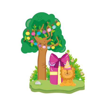 Lindo y pequeño león con gorro de fiesta, diseño de ilustraciones vectoriales