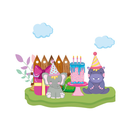 little elephant and hippo with party hats vector illustration design