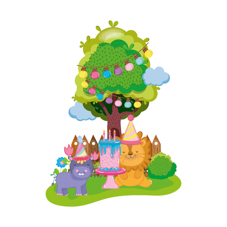 little lion and hippo with party hat vector illustration design Ilustración de vector